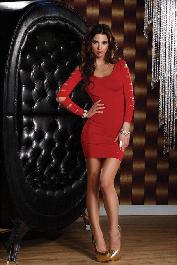Red long sleeved mini dress