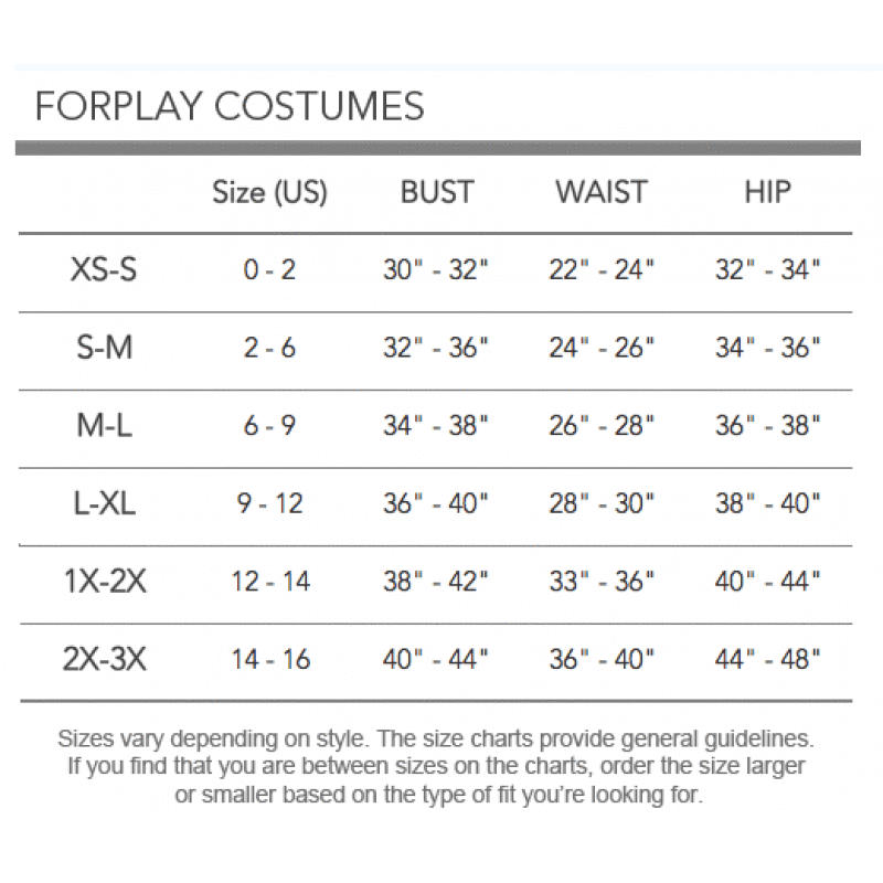 Forplay size chart