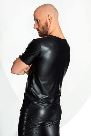 Men`s Eco-Leather Vest with red zipper