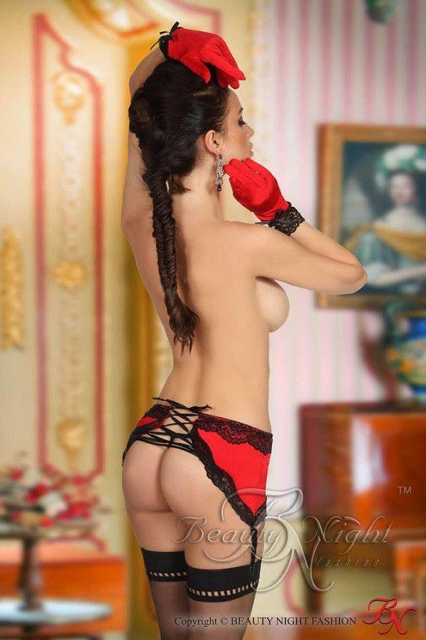 Red garter skirt, gloves and a matching thong