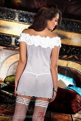 Off the shoulder white lingerie babydoll Melody - Flirtywomen