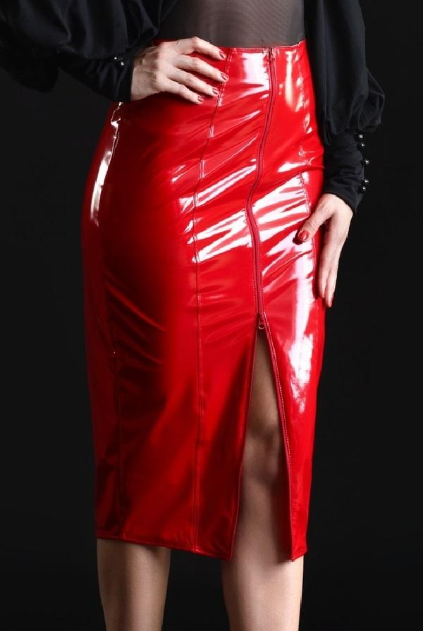 Red Vinyl Skirt Ornella