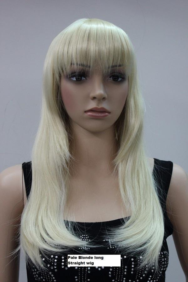 Long Straight Pale Blonde Wig
