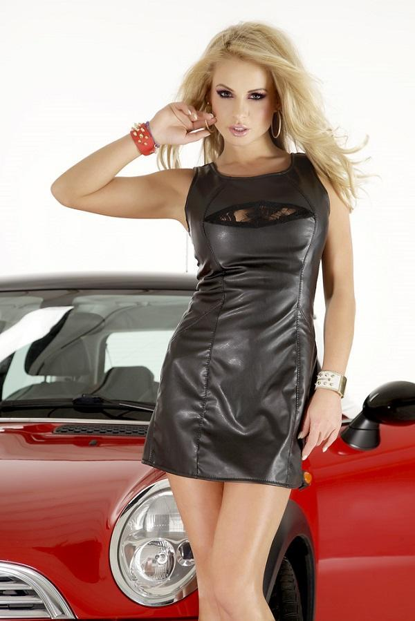 Black Eco Leather Dress SL 1039