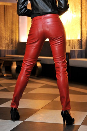 Eco leather red jeans