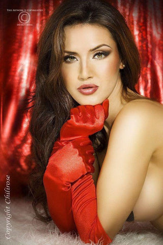 Red elbow length satin gloves for <span class=money>€7.95 EUR</span> at Flirtywomen