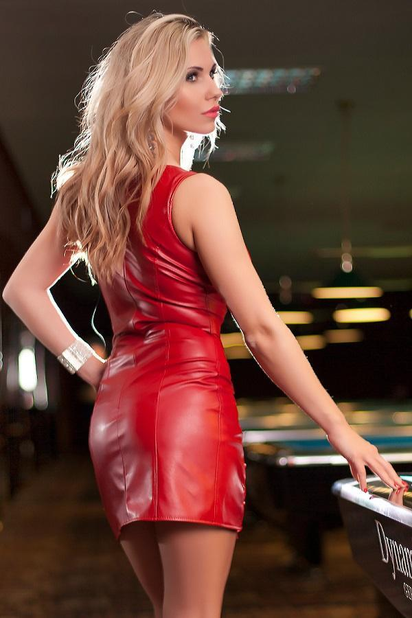 Red Eco Leather Dress TXF023019