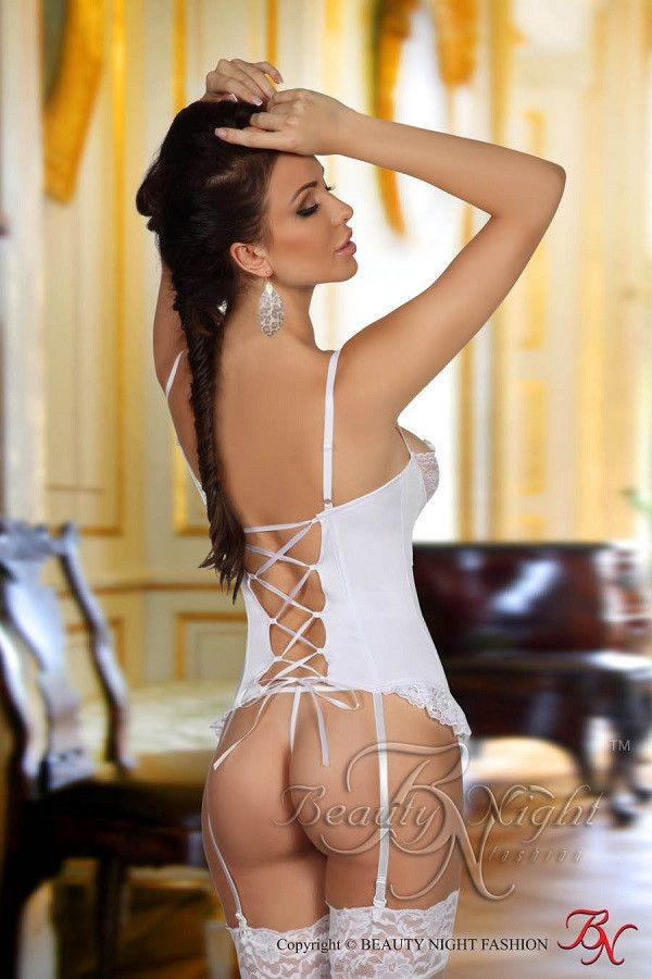 White corset with suspenders and G-string