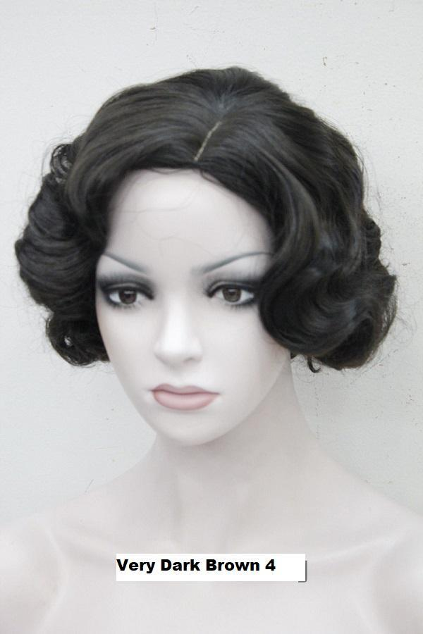 Short Finger Wave Wig Very Dark Brown