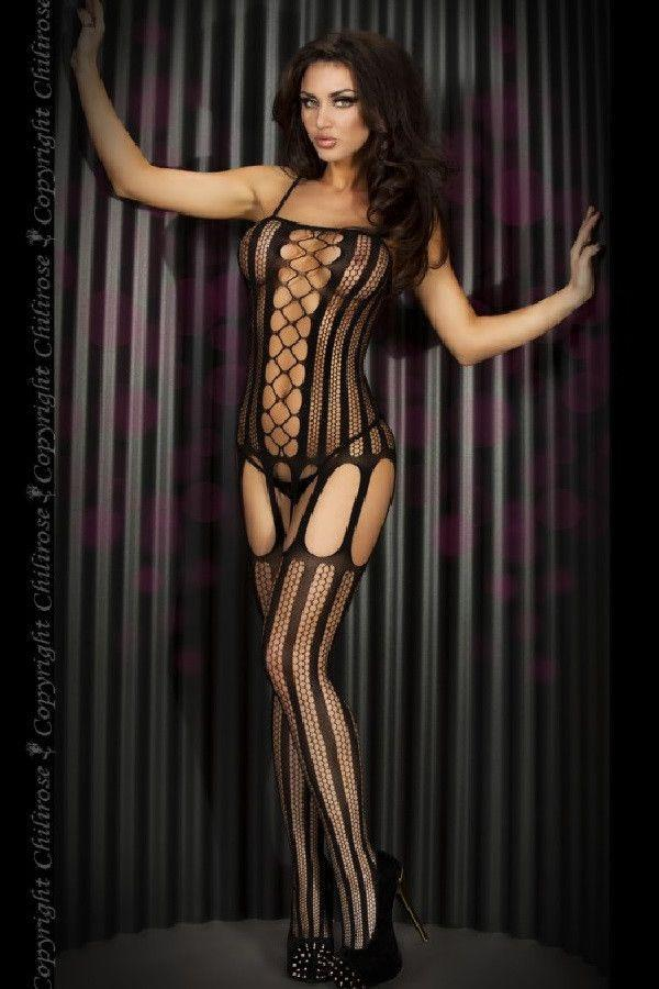 Striped Bodystocking Black