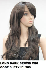 Long Wavy Dark Brown Wig 989