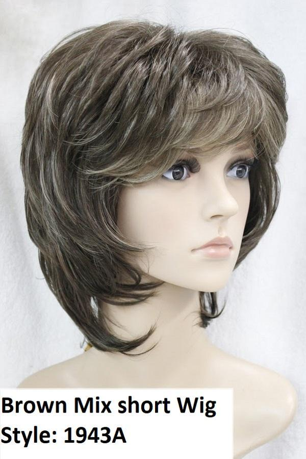 Brown mix short layered wig