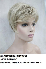 Short Striaght Blonde Grey Mix Ronic Wig