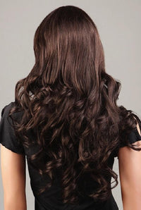 Long brown spiral waved wig