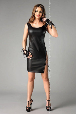 Leather-look sexy black clubwear dress for <span class=money>€39.95 EUR</span> at Flirtywomen