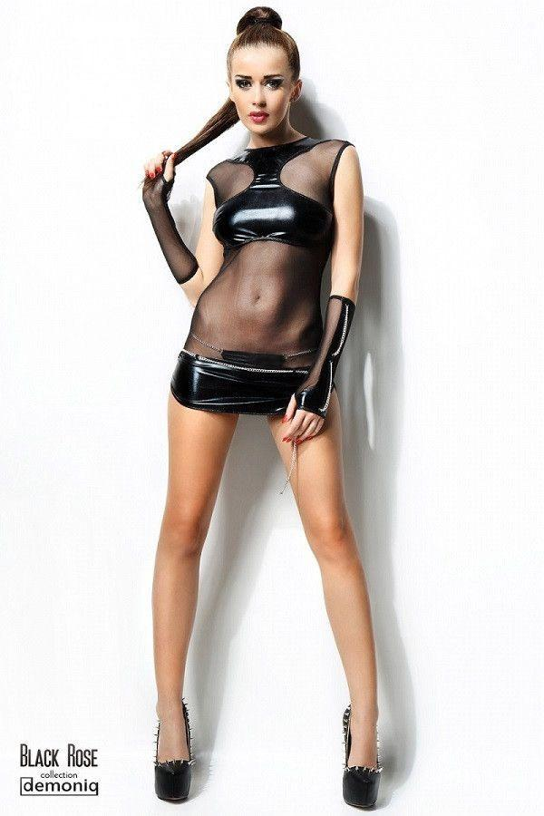 Wet-look dress with a thong and chain gloves