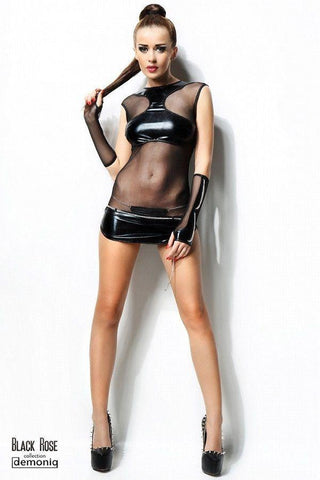 Wet-look dress with a thong and chain gloves for <span class=money>€39.95 EUR</span> at Flirtywomen