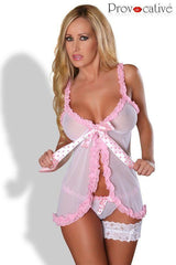 Babydoll nightdress white with pink for <span class=money>€27.95 EUR</span> at Flirtywomen