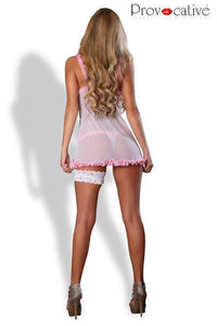 Babydoll nightdress white with pink