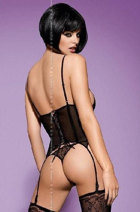 Black Basque with matching lace thong