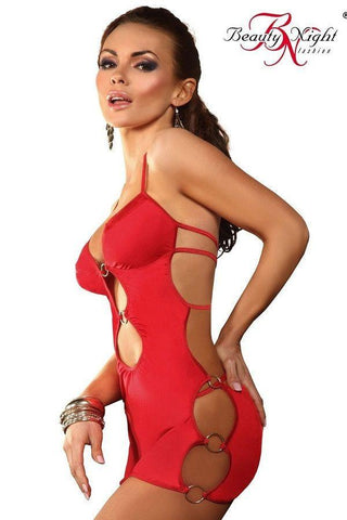 Sexy red dress with cut-out detail for <span class=money>€22.95 EUR</span> at Flirtywomen