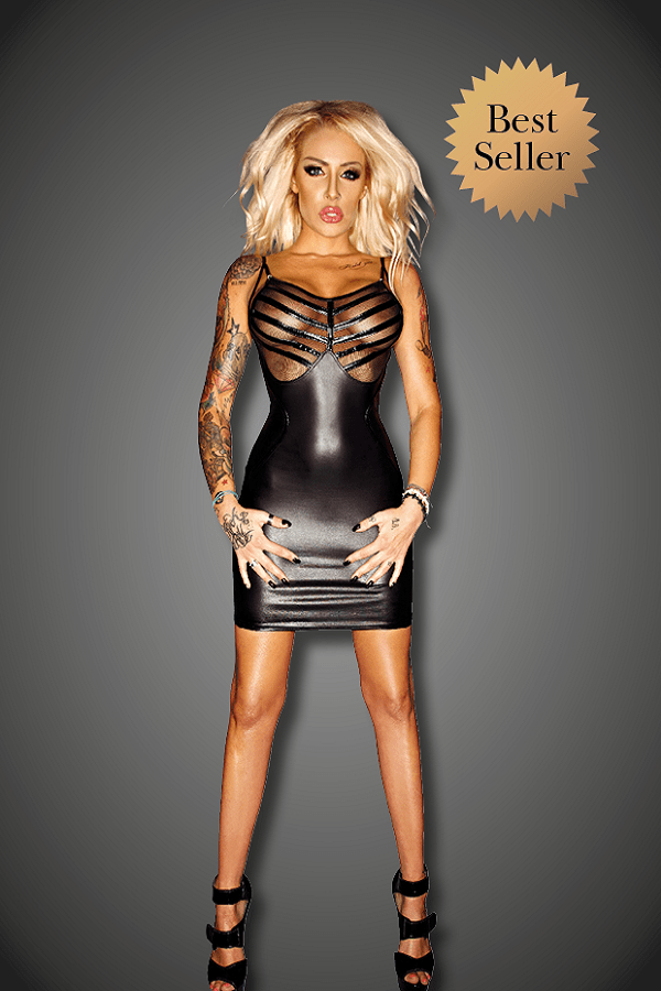 Wet Look Mini Dress with Tulle and PVC Trims