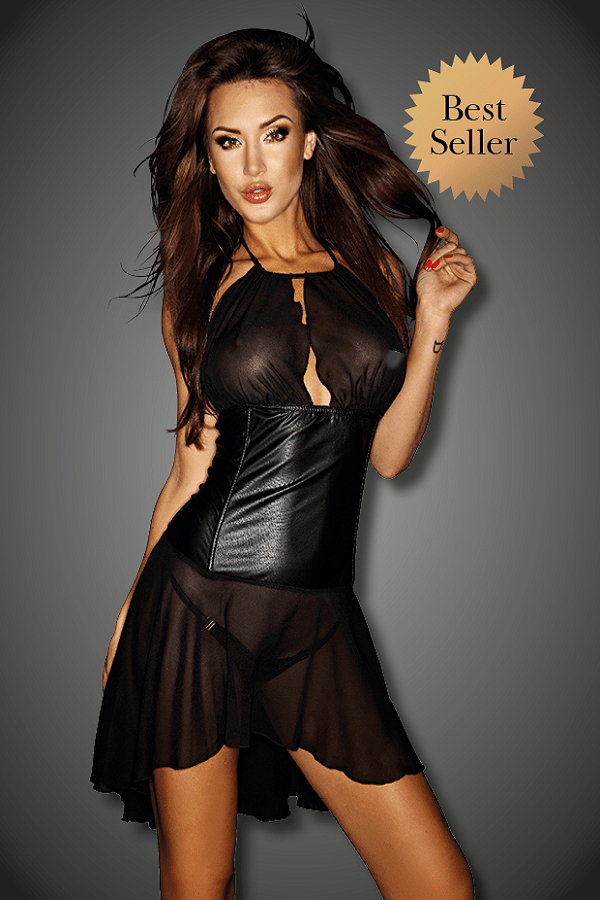 Black Chiffon and Wet Look Mini Dress