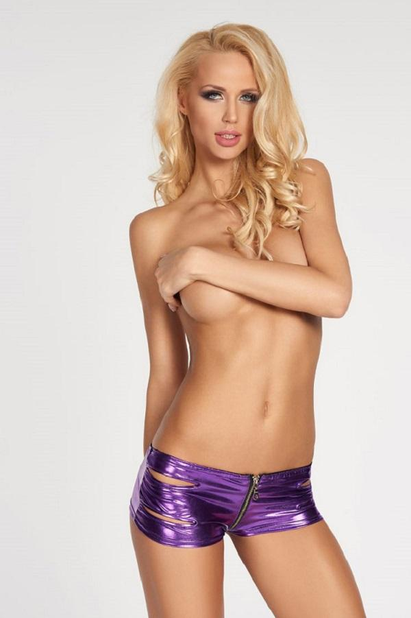Purple Wet-Look Shorts Frais