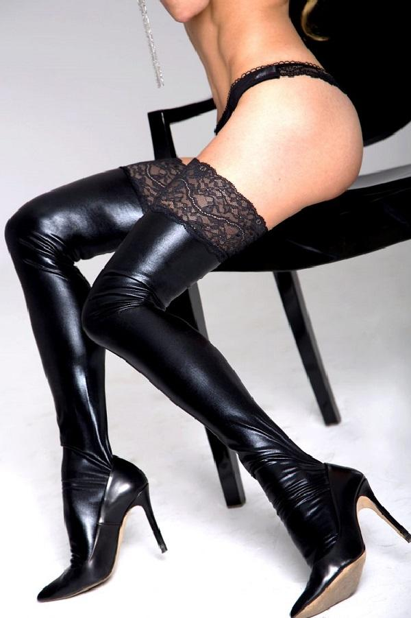 Glossy Black Lace Top Stockings