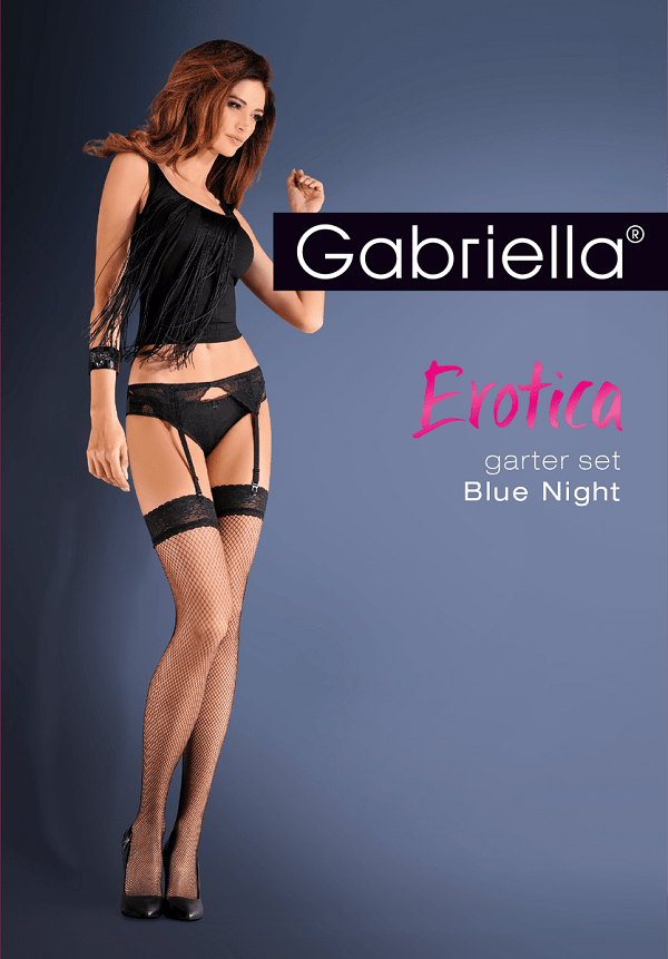 Black garter-belt with fishnet stockings