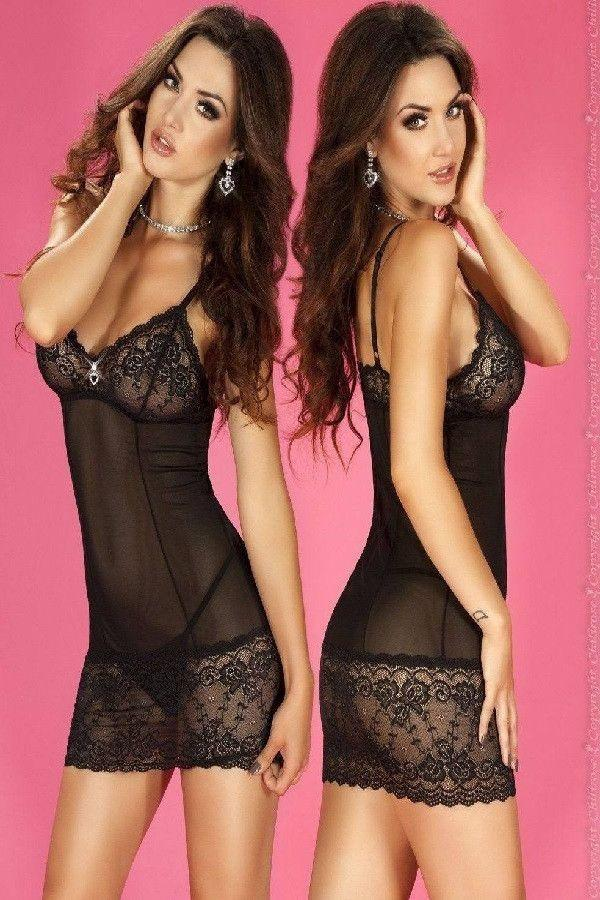 Black lingerie nightdress