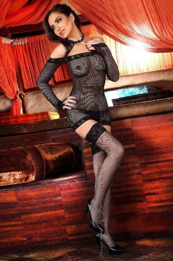 Black long sleeved fishnet nightdress