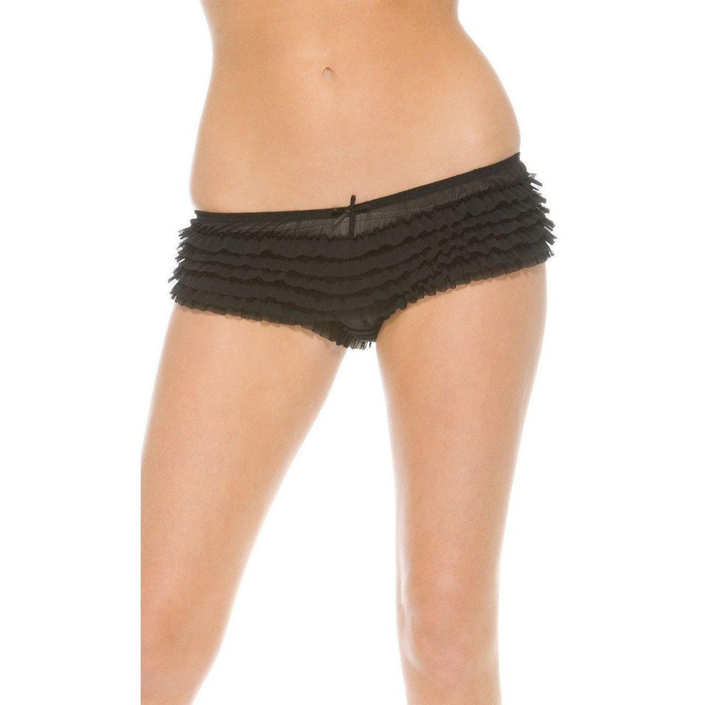 Black Ruffle Booty Shorts - Black Ruffle Booty Shorts