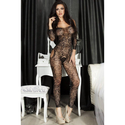 Bodystocking - Black Footless Sleeved Bodystocking