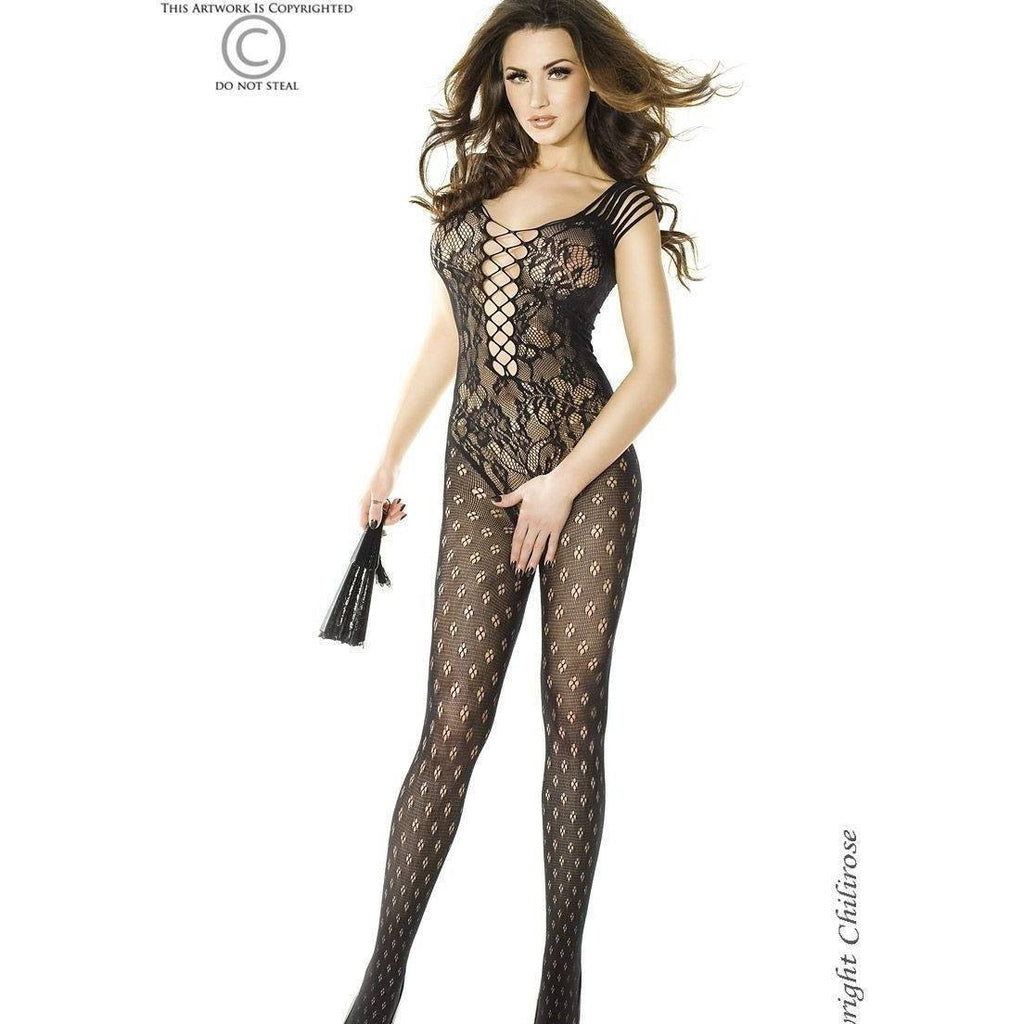 Stretchy black bodystocking - Flirtywomen