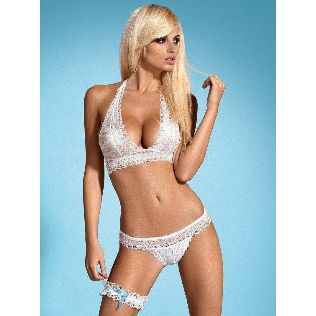 White bra, panty and garter set for <span class=money>€22.95 EUR</span> at Flirtywomen
