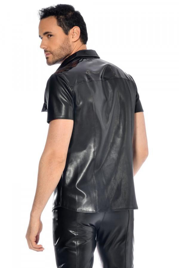 Faux leather Men`s shirt Liam