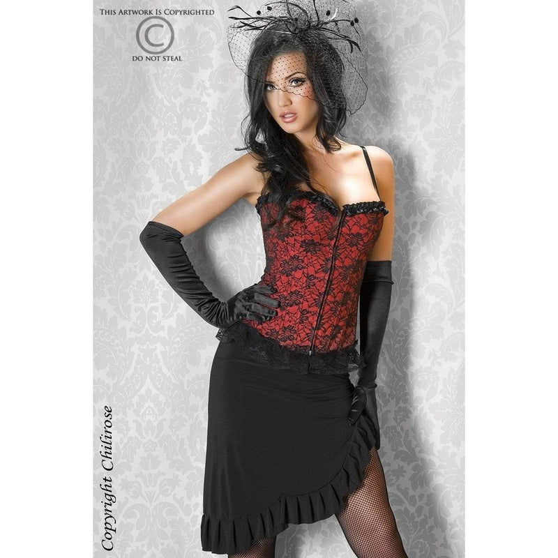 Red X-Large corset and G-string - Flirtywomen