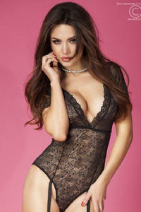 V-neck lingerie body with garters