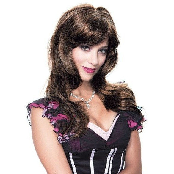 Dark brown wig with a flowing fringe - Flirtywomen