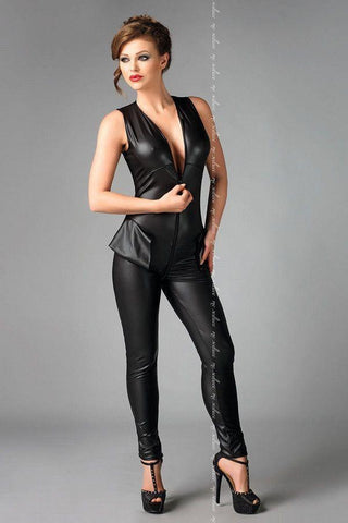Wet look black jumpsuit with zipper front