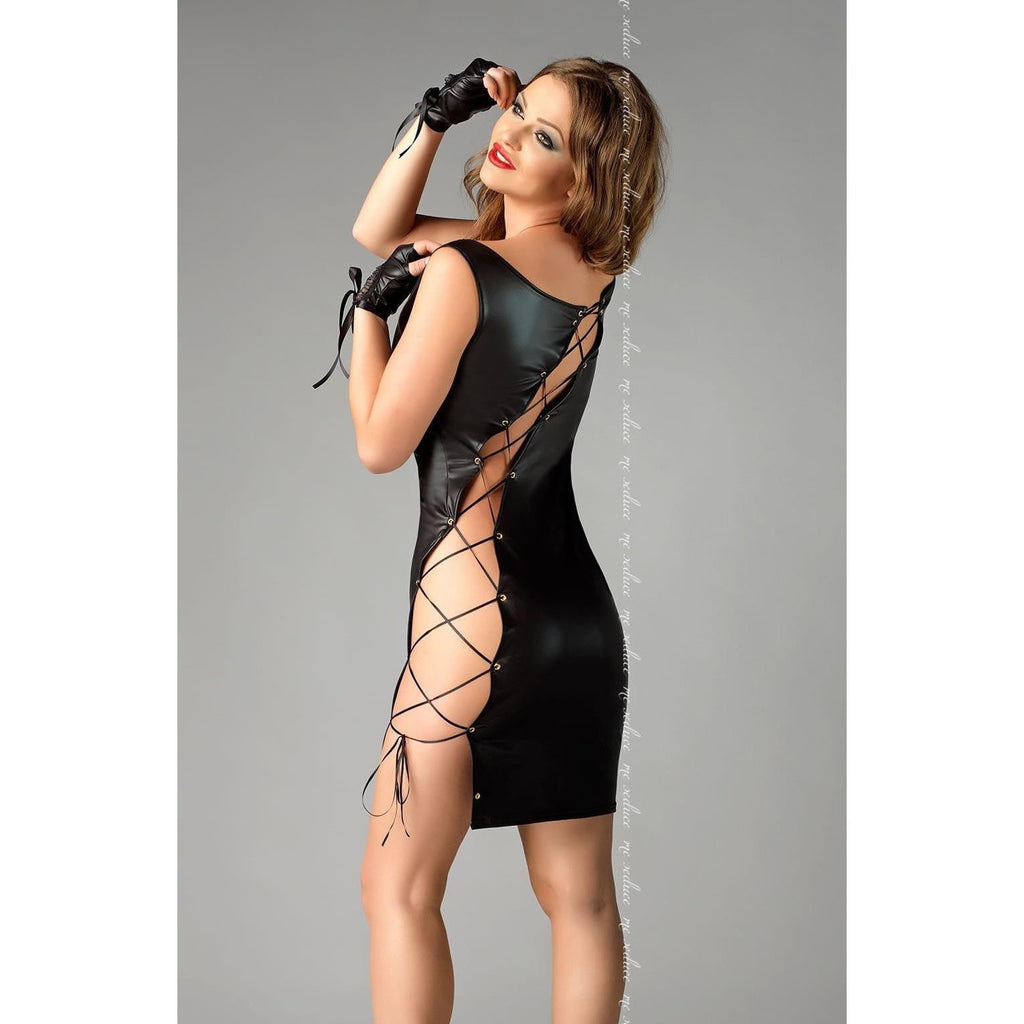Leather-look sexy black clubwear dress - Flirtywomen