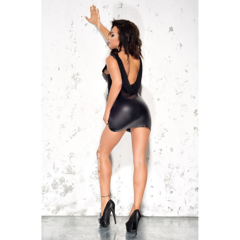Leatherette black party dress - Flirtywomen