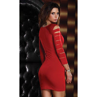 Dress - Red Long Sleeved Mini Dress