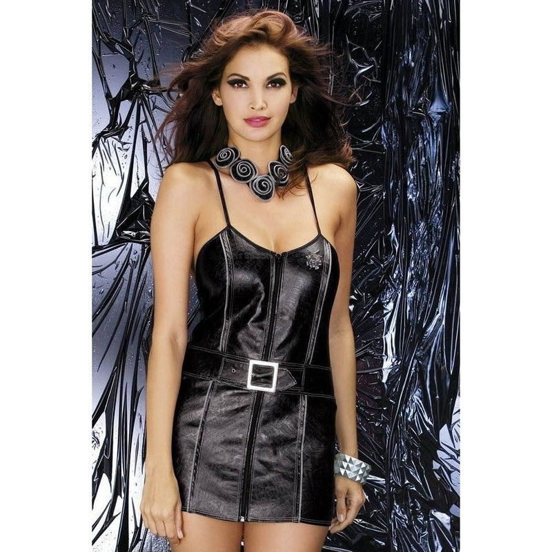 Wet-look Biker dress - Flirtywomen