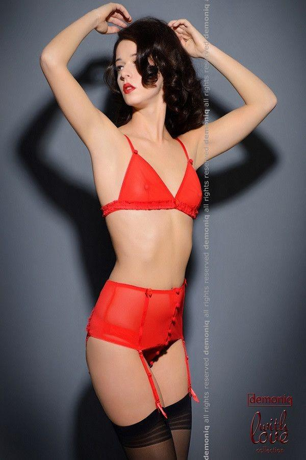 Red lingerie bra, garter-belt and brief panty