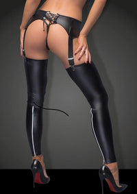Wet-look garter-belt
