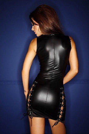 Wet Look Mini Dress with Lacing