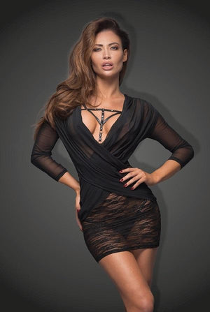 Black Flirty Lace and Tulle Mini Dress