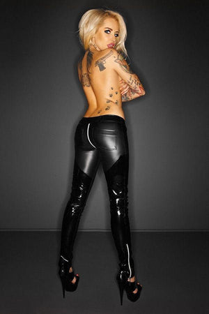 Slinky wet-look PVC trousers
